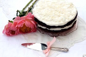 Coconut & Cacao Cake with Marshmallow Frosting, Renee Naturally