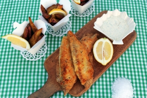 Almond Crusted Fish with Spiced Sweet Potato Wedges & Dill Aioli, Renee Naturally
