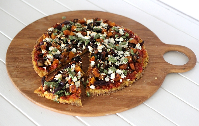 Polenta Pizza with Balsamic Veges & Kale Pesto | http://www ...